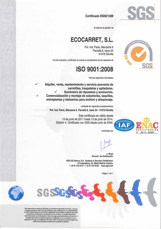 Ecocarret - Empresa certificada ISO 9001 en venta y alquiler de carretillas elevadoras